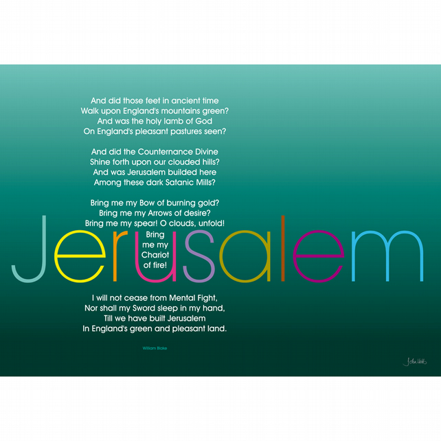 3 - 'JERUSALEM' TYPOGRAPHICAL POETRY POSTER