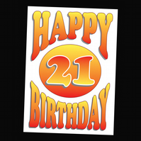 2 - AGES BIRTHDAY CARD - 21 YEARS