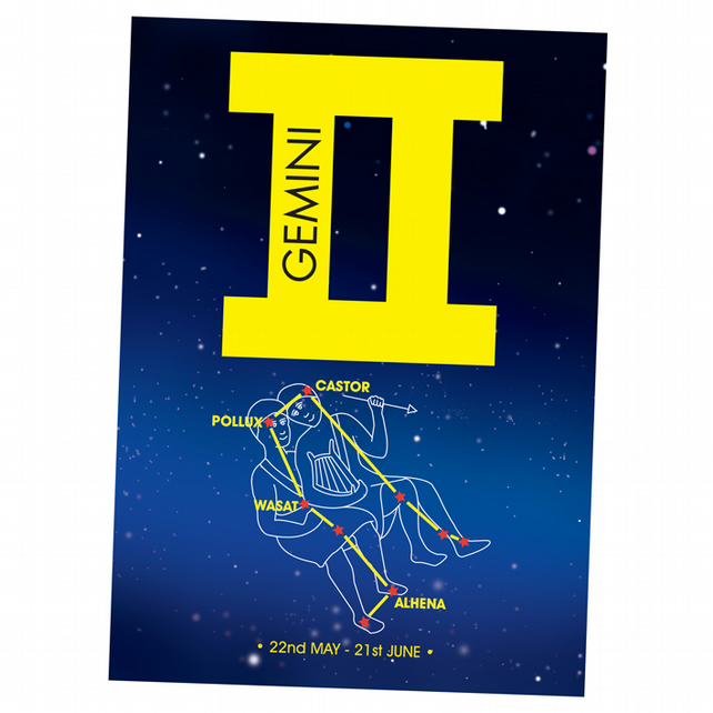 3 - GEMINI ZODIAC BIRTHDAY CARD
