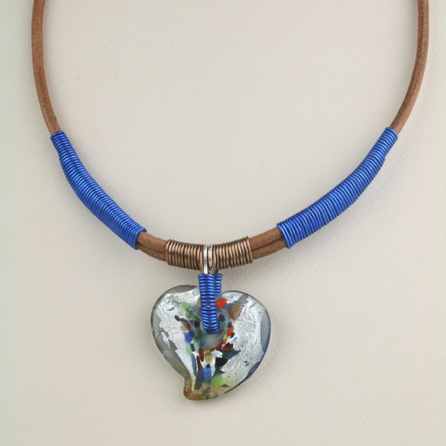 W002 WIRE AND LEATHER NECKLACE