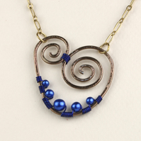 W011 WIRE HEART & PEARLE NECKLACE