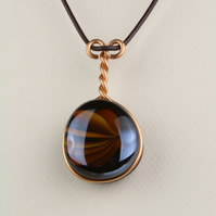 W012 DOUBLE GLASS PENDANT NECKLACE
