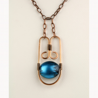 W010 A BLUE STONE & COPPER NECKLACE