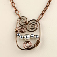 W018 WIRE SCROLL AND BEAD NECKLACE