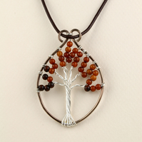 W020 DROP SHAPED TREE OF LIFE NECKLACE