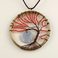 W022 LARGE TREE OF LIFE & MOON NECKLACE