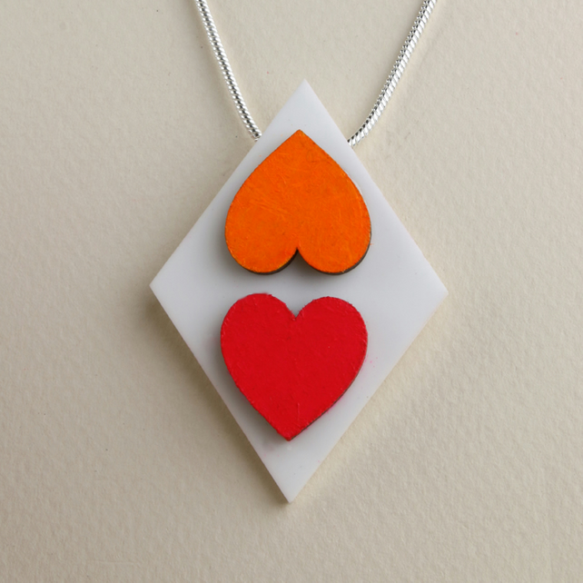 ACRYLIC AND WOOD 2 HEART DIAMOND PENDANT