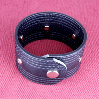 35 - BLACK LEATHER STITCHED BRACELET