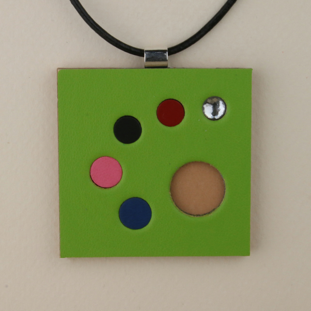 S004 SQUARE LEATHER PENDANT