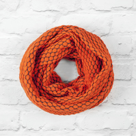 Orange Cotton Scarf, Orange Infinity Scarf, Orange Scarf, Infinity Scarf
