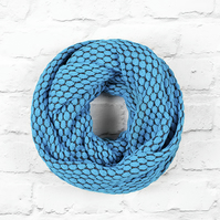Wide Infinity Scarf, Blue Infinity Scarf, Knitted Cotton Scarf, Knitted Scarf