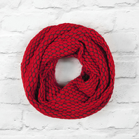 Wide Infinity Scarf, Red Infinity Scarf, Knitted Cotton Scarf, Knitted Scarf