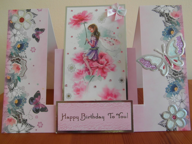 An Enchanting Fairy Swing Birthday Card   SALE
