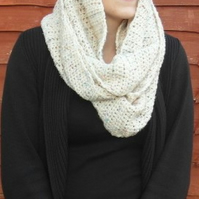 Cream Aran Infinity Scarf Cowl with coloured fleck throughout