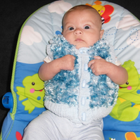 A Warm Fluffy Blue Sleeveless Cardigan  for Baby 0- 6 months Sale