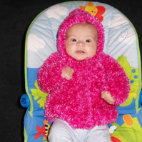 Fluffy Pink Hooded Cardigan with Hello Kitty Buttons 3-9 months