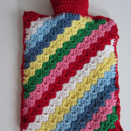 Hot Water Bottle 2L with removable Crocheted Cover in Cath Kidston Colours