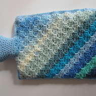 Hot Water Bottle 2L with removable Crocheted Cover in Blue Colours