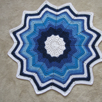 Blue Crochet Star Baby Blanket