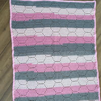 Crocheted Honeycomb Pattern Baby Blanket