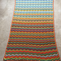 Handmade Crochet Blanket Throw Afghan made in the wave pattern Woodland Design
