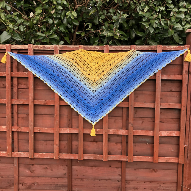 Yellow and Blue Lost in Time Shawl Mijo Crochet Pattern