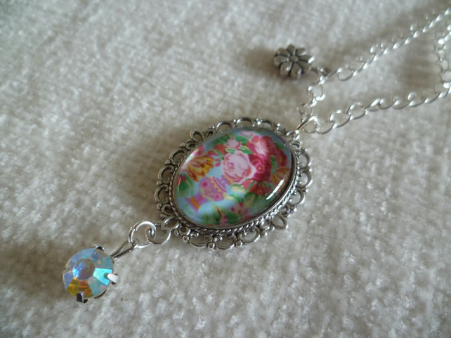 Oval Floral Cameo Pendant