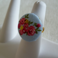 Blue Floral Button Ring