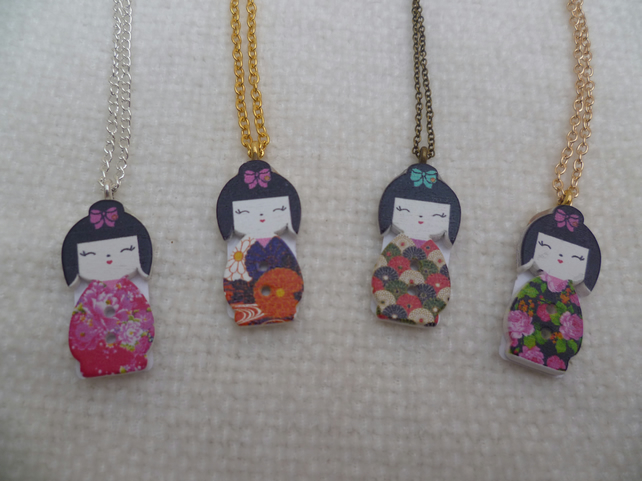 Geisha Doll Button Pendants
