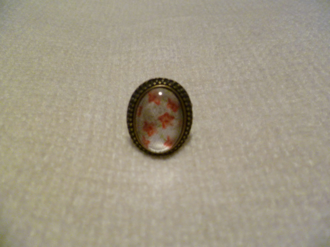 Red Floral Cameo Ring