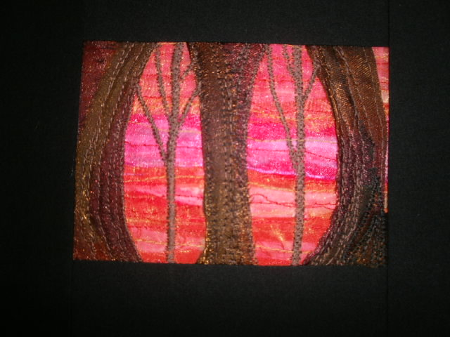 Pink sunset.Textile Art