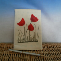 A6 SILK  POPPIES  TEXTILE  NOTEBOOK COVER