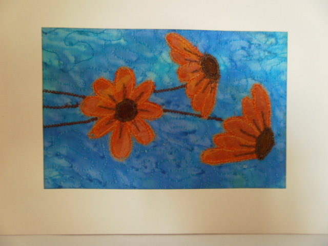 Orange Flowers.Textile Art