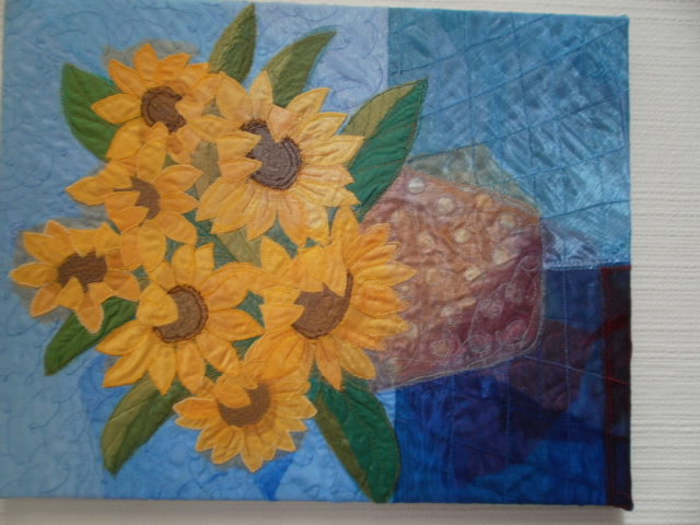 "Sunflowers Textile Art 18"" x 14"""