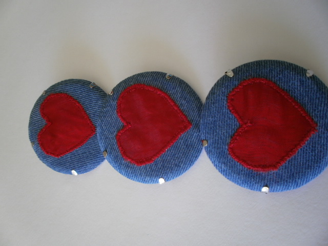 Red Heart Textile Brooch