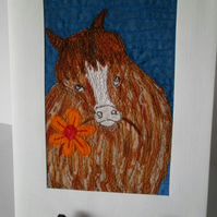 Pony With Flower Textile Art