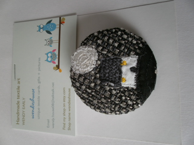 Black Wee Cottage Textile Brooch