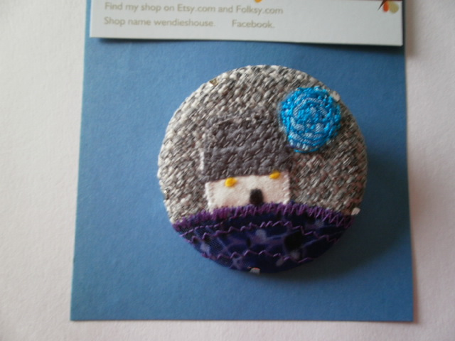Wee Cottage Textile Brooch. Blue Moon
