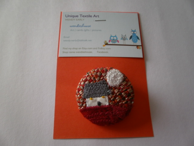 Wee Cottage Textile Brooch. Silver Moon