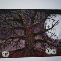 The Moon and the Oak Textile Art
