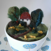 Cottage in the Woods. Felted landscape in a tea cup.