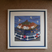 Whitby Harbour Textile Art Giclee Print