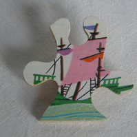 Sailing ship jigsaw brooch.  60s, childrens illustration, recycled jigsaw piece