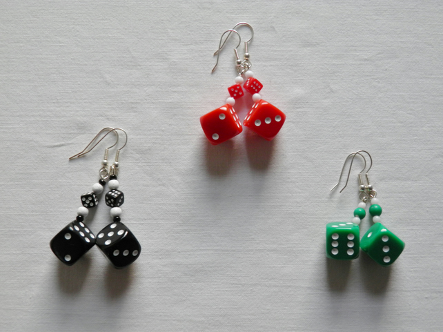 Dice earrings. Quirky, bright, dice earrings