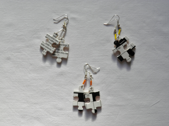 Crossword, jigsaw earrings. Quirky, black, white and primary, puzzle earrings.