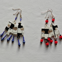 Crossword, jigsaw earrings with dangles. Quirky puzzle earrings.