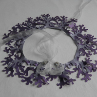 "Mauve and silver ""mermaid"" collar.  Fantasy statement neck wear."
