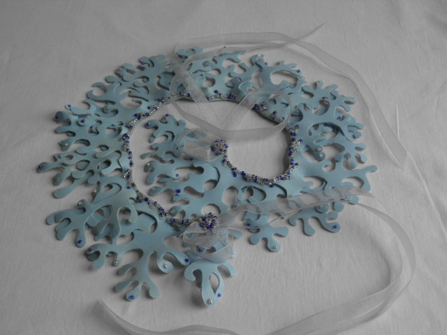 "Light blue,  ""mermaid"" collar.  Fantasy, statement neck wear."