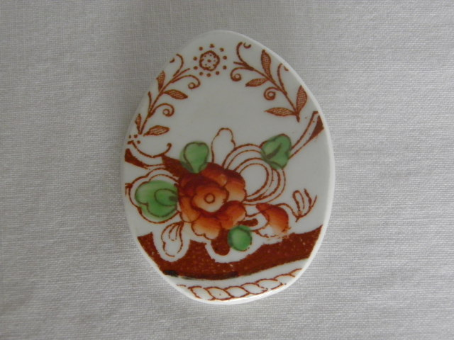 Recycled, vintage china brooch. Flowery, cream and terracotta, china brooch.