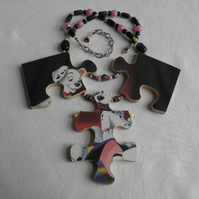Dalmatian jigsaw necklace
